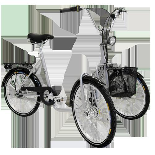 Trehjuling med 2 hjul fram